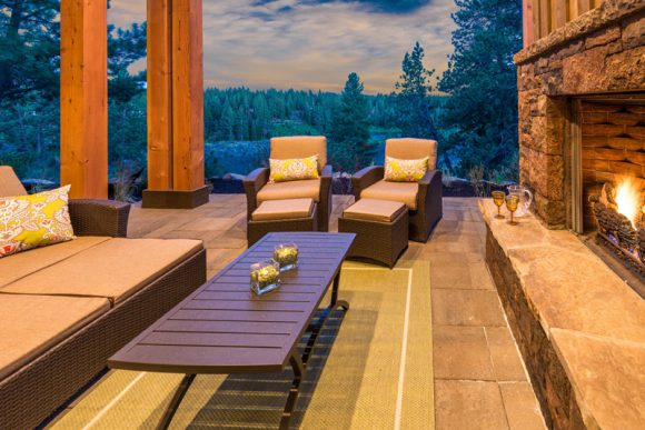 outdoor patio and fireplace rendering PointsWest